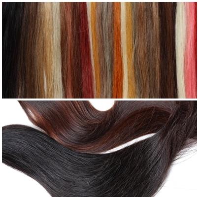 ウィッグに使用する毛髪、ファイバー耐熱形状記憶毛髪。